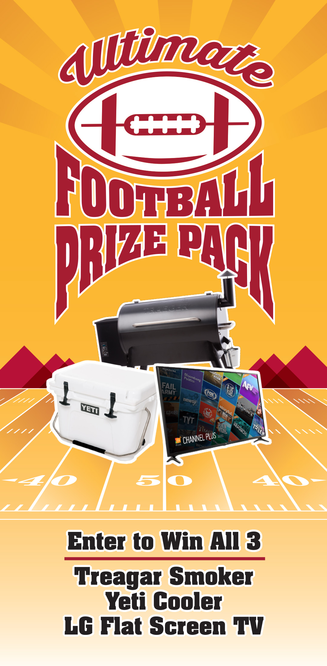 Win A Traegar Smoker Yeti Cooler LG TV