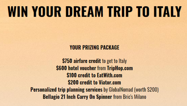 Dream Trip To Italy Sweepstakes: Win A Trip For Two To Italy